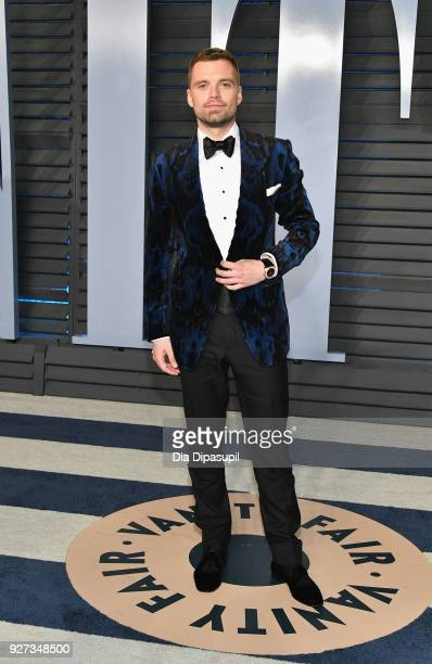 Sebastian Stan attends the 2018 Vanity Fair Oscar Party hosted by Radhika Jones at Wallis Annenberg Center for the Performing Arts on March 4 2018 in...