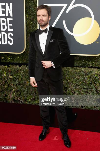 Sebastian Stan attends The 75th Annual Golden Globe Awards at The Beverly Hilton Hotel on January 7 2018 in Beverly Hills California