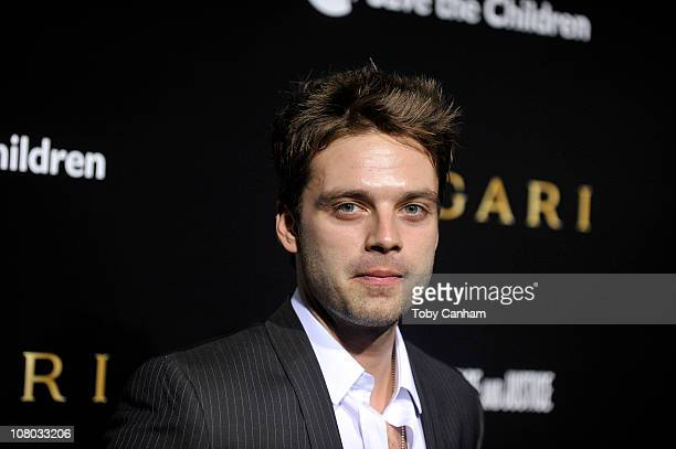 Sebastian Stan attends the BVLGARI fundraiser benefitting Save The Children and Artists For Peace held at a private residence on January 13 2011 in...