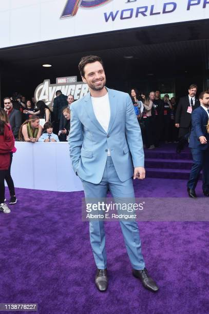 """Sebastian Stan attends the Los Angeles World Premiere of Marvel Studios' """"Avengers: Endgame"""" at the Los Angeles Convention Center on April 23, 2019..."""