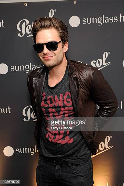 Sebastian Stan attends the Persol Sunglass Hut special edition of 714 Steve McQueen sunglasses at Sunglass Hut Flagship on September 23 2010 in New...