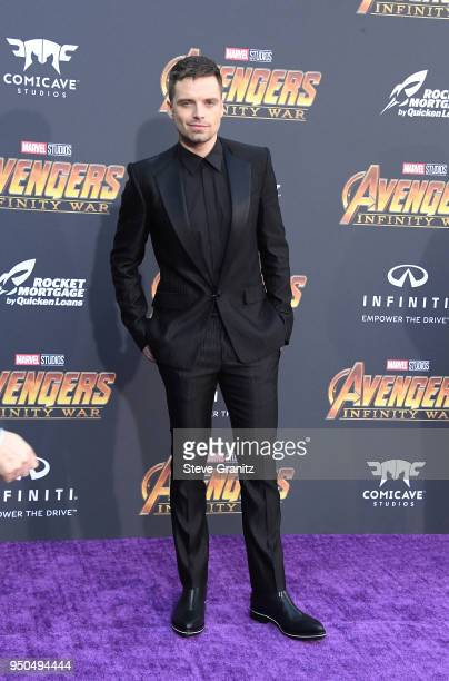 Sebastian Stan attends the premiere of Disney and Marvel's 'Avengers Infinity War' on April 23 2018 in Los Angeles California
