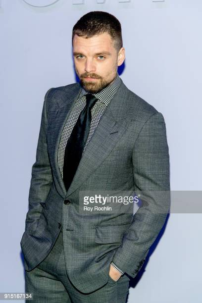 Sebastian Stan attends the Tom Ford Fall/ Winter 2018 Men's Runway Show at Park Avenue Armory on February 6 2018 in New York City