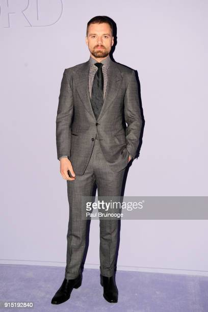Sebastian Stan attends the Tom Ford Men's Arrivals February 2018 New York Fashion Week at Park Avenue Armory on February 6 2018 in New York City