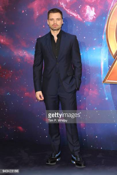 Sebastian Stan attends the UK Fan Event for Avengers Infinity War at Television Studios White City on April 8 2018 in London England