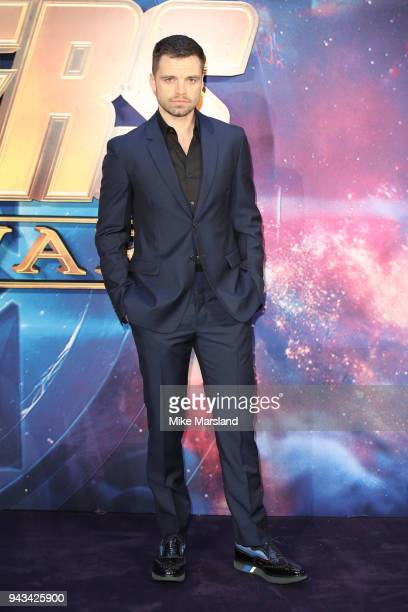Sebastian Stan attends the UK Fan Event for 'Avengers Infinity War' at Television Studios White City on April 8 2018 in London England