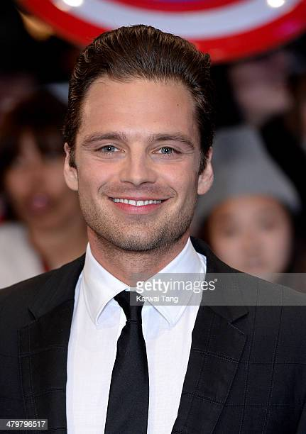 Sebastian Stan attends the UK Film Premiere of Captain America The Winter Soldier at Westfield London on March 20 2014 in London England