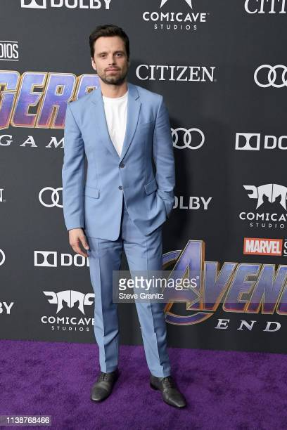 """Sebastian Stan attends the world premiere of Walt Disney Studios Motion Pictures """"Avengers: Endgame"""" at the Los Angeles Convention Center on April..."""
