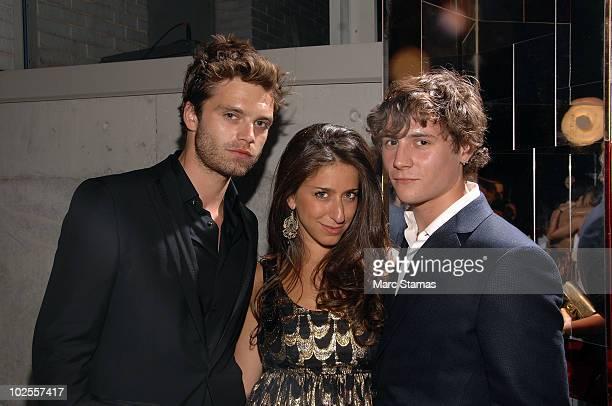 Sebastian Stan Chiara Clemente and Augustus Prew attend Salvatore Ferragamo's 'Attimo' fragrance launch party at The Standard on June 30 2010 in New...