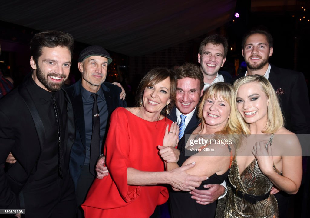 Sebastian Stan, Craig Gillespie, Allison Janney, Steven Rogers, Bryan Unkeless, Tonya Harding, Ricky Russert and Margot Robbie attend NEON and 30WEST Present the Los Angeles Premiere of 'I, Tonya' Supported By Svedka on December 5, 2017 in Los Angeles, California.
