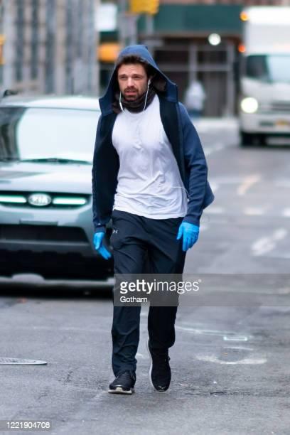 Sebastian Stan is seen in SoHo on April 29, 2020 in New York City.