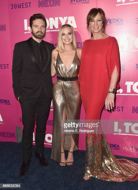 Sebastian Stan Margot Robbie and Allison Janney attend Premiere Of Neon's 'I Tonya' at the Egyptian Theatre on December 5 2017 in Hollywood California