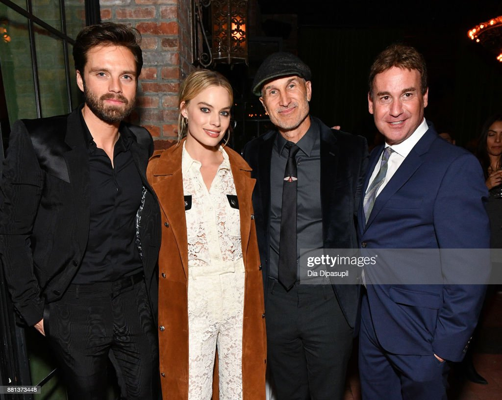 Sebastian Stan, Margot Robbie, director Craig Gillespie, and screenwriter Steven Rogers attend the 'I, Tonya' New York premiere after party on November 28, 2017 in New York City.