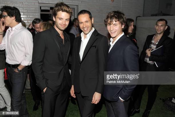 Sebastian Stan Massimiliano Giornetti and Augustus Prew attend SALVATORE FERRAGAMO ATTIMO Launch Event at The Standard Hotel on June 30 2010 in New...