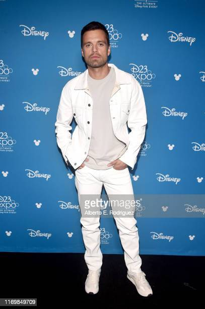 Sebastian Stan of 'The Falcon and The Winter Soldier' took part today in the Disney Showcase at Disney's D23 EXPO 2019 in Anaheim Calif 'The Falcon...