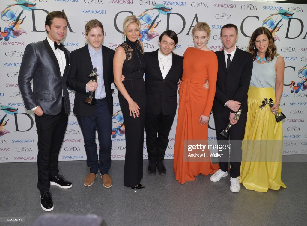 Sebastian Stan, Shane Gabier, Nadja Swarovski, Christopher Peters, Greta Gerwig,Tim Coppens and Irene Neuwirth attend the winners walk during the 2014 CFDA fashion awards at Alice Tully Hall, Lincoln Center on June 2, 2014 in New York City.