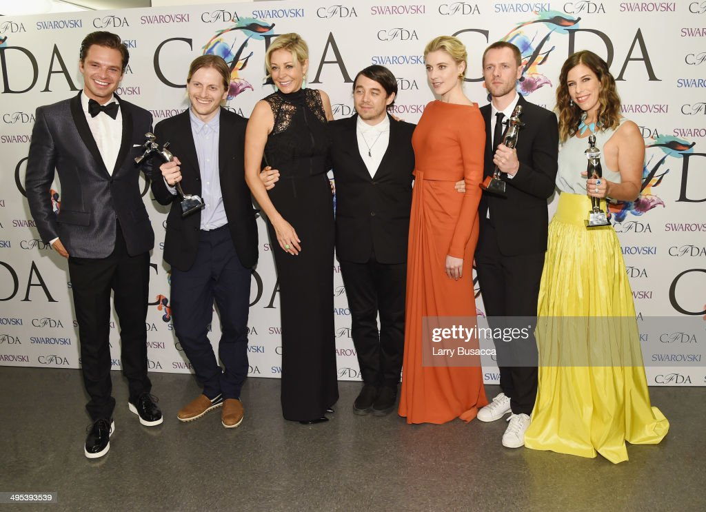 Sebastian Stan, Shane Gabier, Nadja Swarovski, Christopher Peters, Greta Gerwig, Tim Coppens and Irene Neuwirth attend the winners walk during the 2014 CFDA fashion awards at Alice Tully Hall, Lincoln Center on June 2, 2014 in New York City.