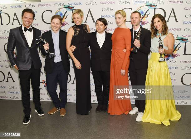 Sebastian Stan Shane Gabier Nadja Swarovski Christopher Peters Greta Gerwig Tim Coppens and Irene Neuwirth attend the winners walk during the 2014...