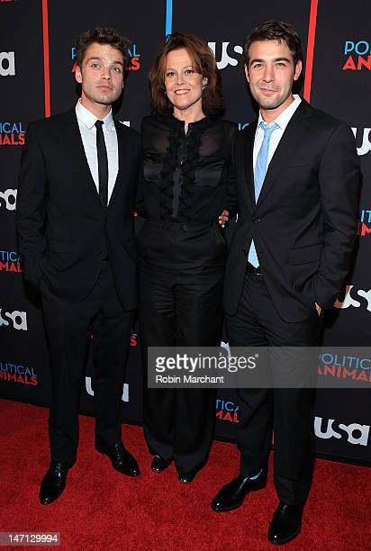 Sebastian Stan Sigourney Weaver and James Wolk attend USA Network's 'Political Animals' New York Screening at The Morgan Library Museum on June 25...