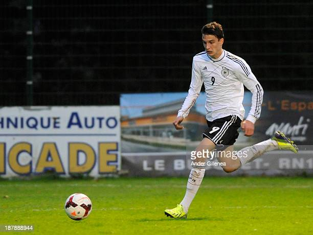 Sebastian Stolze of Germany during a friendly match between U19 France and U19 Germany at the Didier Deschamps Stadium on November 13, 2013 in...