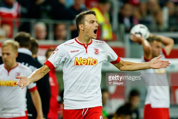 Sebastian Stolze of Jahn Regensburg gestures during the Second Bundesliga match between SSV Jahn Regensburg and SG Dynamo Dresden on September 14...