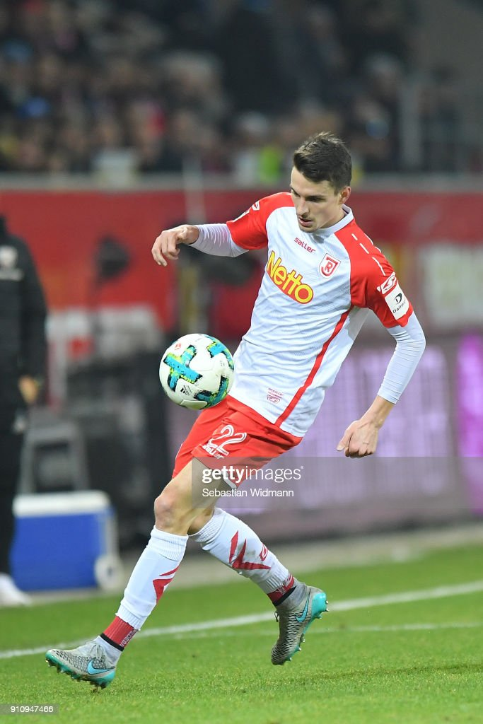 Sebastian Stolze of Regensburg plays the ball during the Second Bundesliga match between SSV Jahn Regensburg and FC Ingolstadt 04 at Continental Arena on January 26, 2018 in Regensburg, Germany.