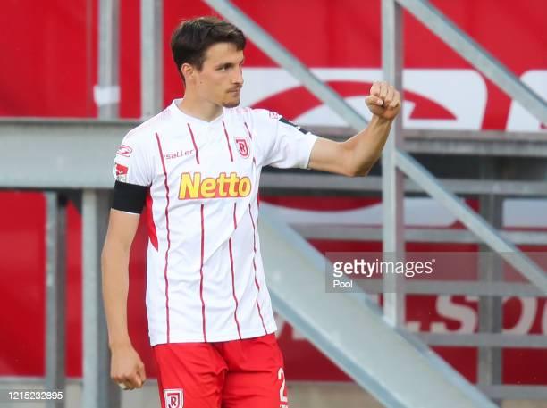 Sebastian Stolze of SSV Jahn Regensburg celebrates after scoring his team's second goal during the Second Bundesliga match between SSV Jahn...