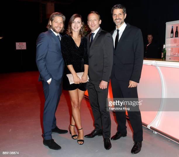 Sebastian Stroebel, german actor Wotan Wilke Moehring and his partner Cosima Lohse and Pasquale Aleardi attend the Ein Herz Fuer Kinder Gala...