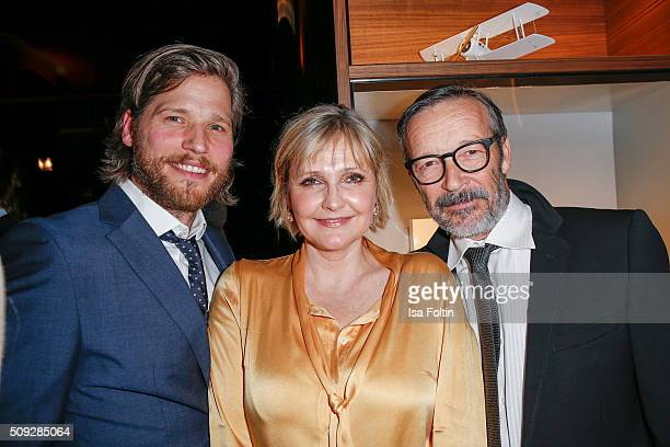 Sebastian Stroebel Katharina Schubert and Michael Roll attend the Montblanc House Opening on February 09 2016 in Hamburg Germany