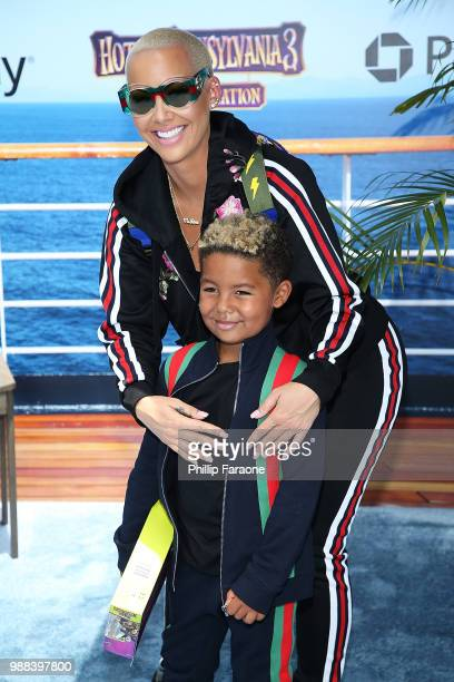 Sebastian Taylor Thomaz and Amber Rose attend the Columbia Pictures and Sony Pictures Animation's world premiere of 'Hotel Transylvania 3 Summer...