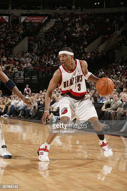 Sebastian Telfair of the Portland Trail Blazers move the ball against the Dallas Mavericks during a game on April 14, 2005 at the Rose Garden Arena...