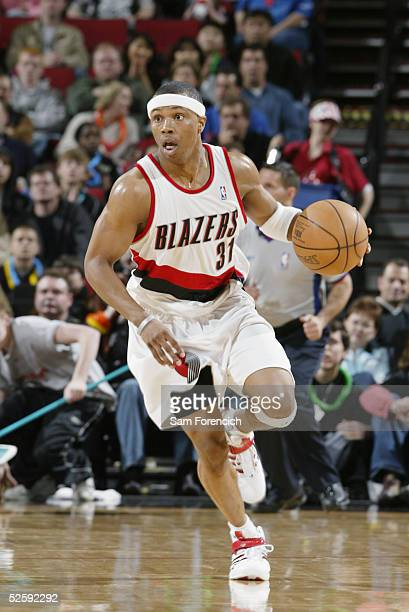 Sebastian Telfair of the Portland Trail Blazers moves the ball during the game against the Orlando Magic on March 19 2005 at the Rose Garden Arena in...
