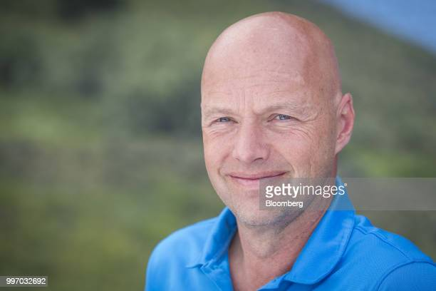 Sebastian Thrun chief executive officer of Kitty Hawk Corp sits for a photograph after a Bloomberg Television interview during the Allen Co Media and...