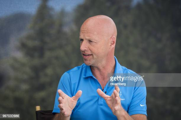 Sebastian Thrun chief executive officer of Kitty Hawk Corp speaks during a Bloomberg Television interview at the Allen Co Media and Technology...