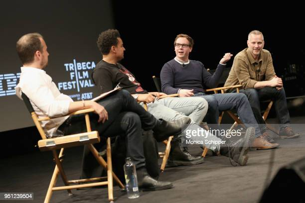 Sebastian Tomich Alex da Kid Joshua Carr and Tim Ganss attend the 'Future of Film' during the 2018 Tribeca Film Festival at Spring Studios on April...