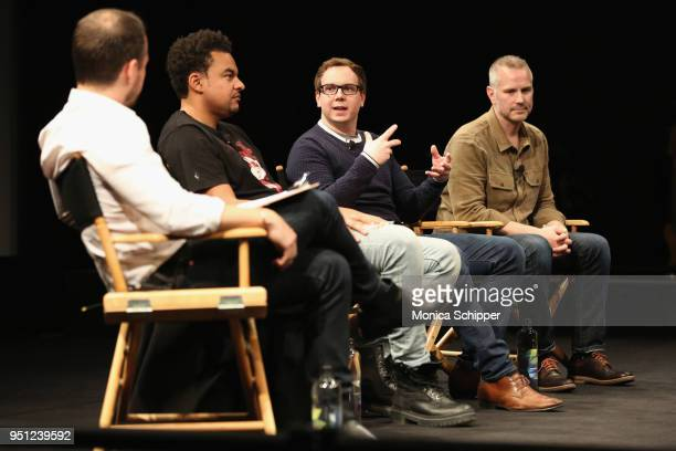 Sebastian Tomich Alex da Kid Joshua Carr and Tim Ganss attend the Future of Film during the 2018 Tribeca Film Festival at Spring Studios on April 25...