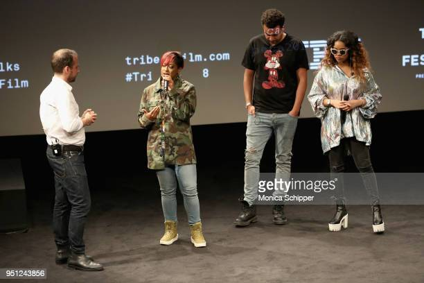 Sebastian Tomich Rapsody Alex da Kid and HER attend the 'Future of Film' during the 2018 Tribeca Film Festival at Spring Studios on April 25 2018 in...