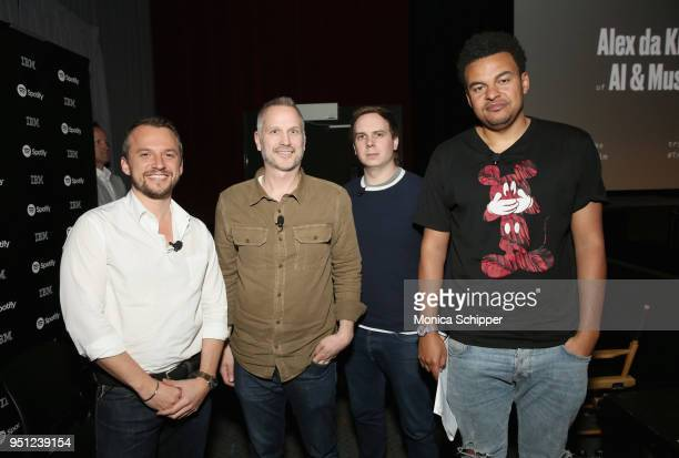 Sebastian Tomich Tim Ganss Joshua Carr and Alex da Kid attend the 'Future of Film' during the 2018 Tribeca Film Festival at Spring Studios on April...