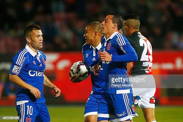 Sebastian Ubilla of Universidad de Chile celebrates after scoring the first goal of his team during a match between U de Chile and Antofagasta as a...