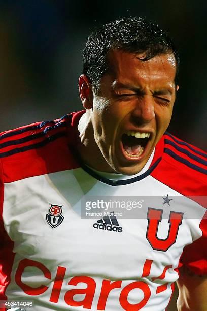 Sebastian Ubilla of Universidad de Chile celebrates the first goal against deportes Antofagasta during a match between Antofagasta and U de Chile as...