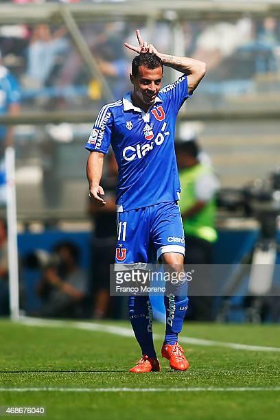 Sebastian Ubilla of Universidad de Chile celebrates the third goal against U Catolica during a match between U Catolica and Universidad de Chile as...