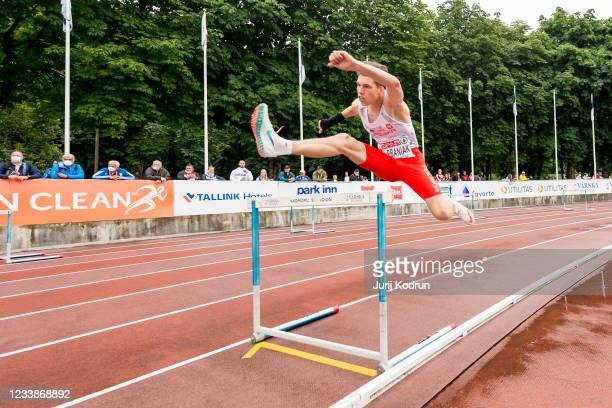 Sebastian Urbaniak of Poland competing in Men's 400m Hurdles Round 1 during 2021 European Athletics U23 Championships - Day 1 at Kadriorg Stadium on...