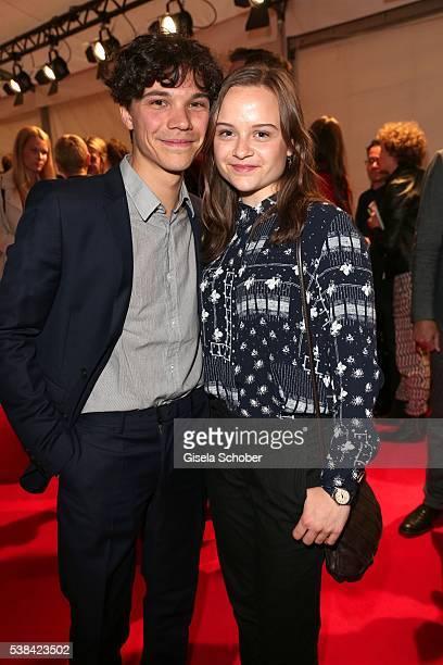 Sebastian Urzendowsky and his sister Lena Urzendowsky during the New Faces Award Film 2016 at ewerk on May 26, 2016 in Berlin, Germany.