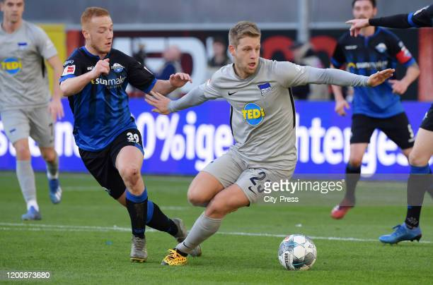 Sebastian Vasiliadis of SC Paderborn and Arne Maier of Hertha BSC during the game between the SC Paderborn 07 against Hertha BSC on february 15 2020...