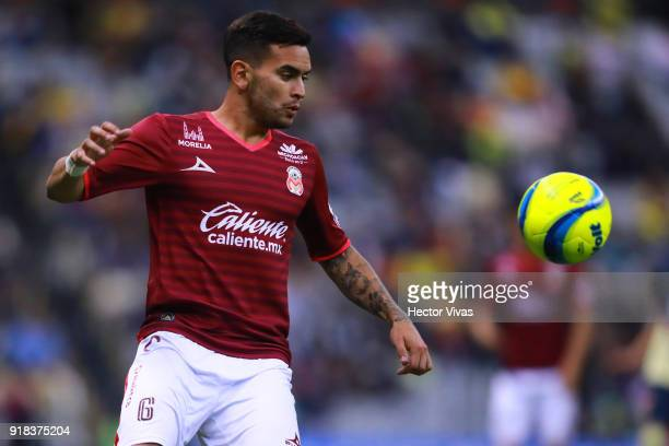 Sebastian Vegas of Morelia looks the ball during the 7th round match between America and Monarcas as part of the Torneo Clausura 2018 Liga MX at...