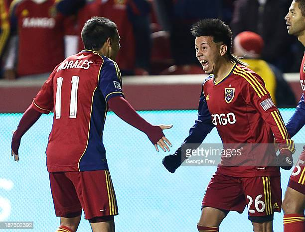 Sebastian Velasquez of Real Salt Lake celebrates his goal with Javier Morales during a game against the Los Angeles Galaxy during the first half of...