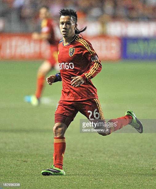 Sebastian Velasquez of Real Salt Lake runs downfield against DC United during the 2013 US Open Cup Final at Rio Tinto Stadium October 1 2013 in Sandy...