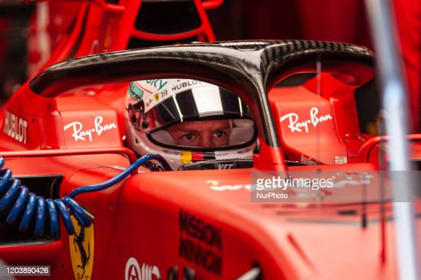 Sebastian Vettel and the Ferrari SF 1000 during the day 4 of the formula 1 testing, on 27 February 2020, in Barcelona, Spain.