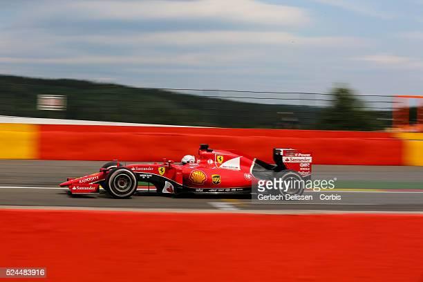 Sebastian Vettel driving for the Scuderia Ferrari Team in action during the race of the 2015 Formula 1 Shell Belgian Grand Prix at Circuit de...