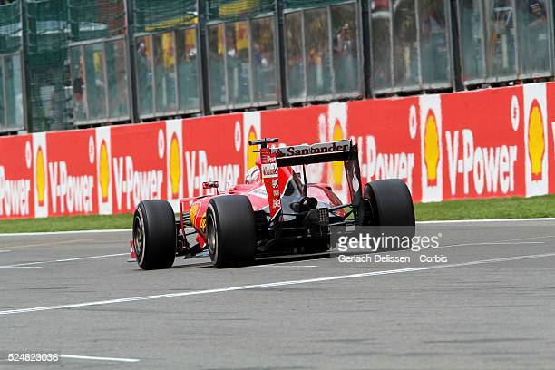 Sebastian Vettel driving for the Scuderia Ferrari Team in action during the race of the 2015 Formula 1 Shell Belgian Grand Prix at Circuit de...